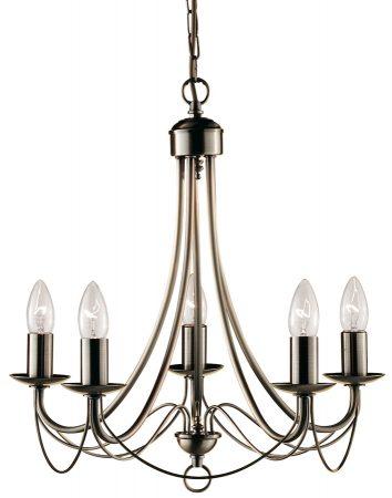 Maypole Bird Cage 5 Light Antique Brass Chandelier