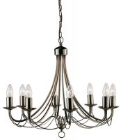 Maypole Bird Cage 8 Light Antique Brass Chandelier