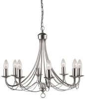 Maypole Bird Cage 8 Light Satin Silver Chandelier