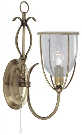 Silhouette Antique Brass Switched Single Wall Light