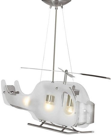 Childs Room Satin Silver Helicopter Pendant Light Frosted Glass
