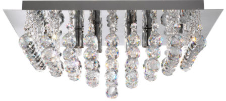 Hanna Square Chrome 4 Lamp Crystal Ceiling Light