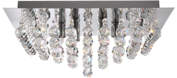 Hanna Square Chrome 8 Lamp Crystal Ceiling Light