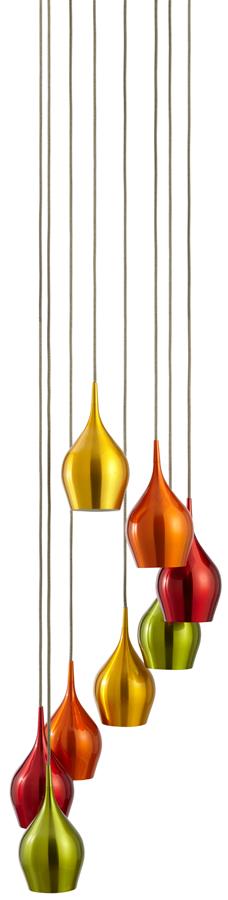 Multi Coloured 8 Light Aluminium Pendant Light