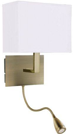 Wall Mounted Brass Reading Lamps : Antique Brass Bedside Wall Light LED Reading Lamp 6519AB