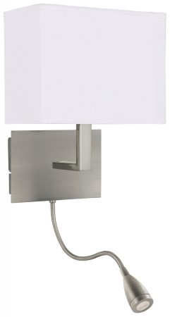 Satin Silver Bedside Wall Light LED Reading Lamp