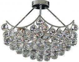 Sassari Chrome Semi Flush 5 Light Crystal Basket Chandelier