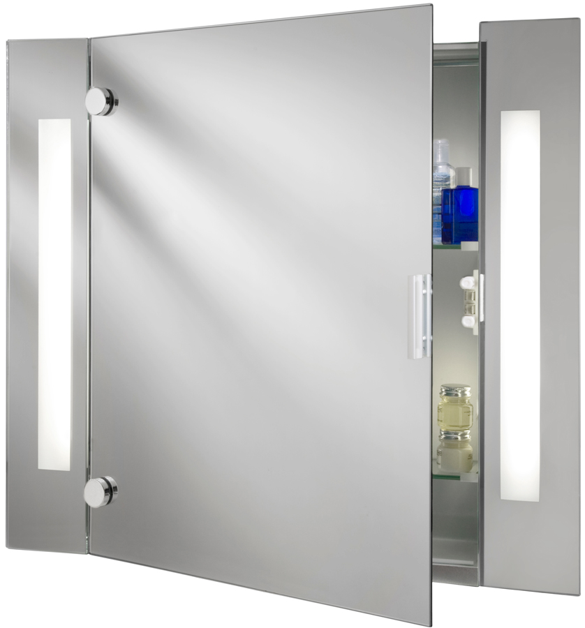 Illuminated Bathroom Mirror Cabinet With Shaver Socket Ip44 6560