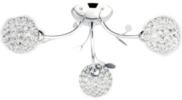 Bellis II Polished Chrome 3 Light Semi Flush With Clear Glass Shades