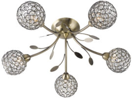 Bellis II Antique Brass 5 Light Semi Flush With Clear Glass Shades