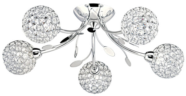 Bellis II Polished Chrome 5 Light Semi Flush With Clear Glass Shades