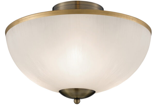Brahama Flush Fitting Acid Etched Glass Ceiling Light