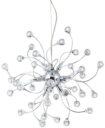 Sonja Modern Chrome 12 Light Pendant With Crystal Decoration