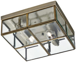Antique Brass Box 2 Lamp Flush Ceiling Light