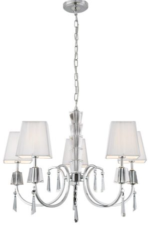 Portico Polished Chrome 5 Light Chandelier White String Shades