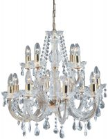 Marie Therese Brass 12 Light Crystal Chandelier