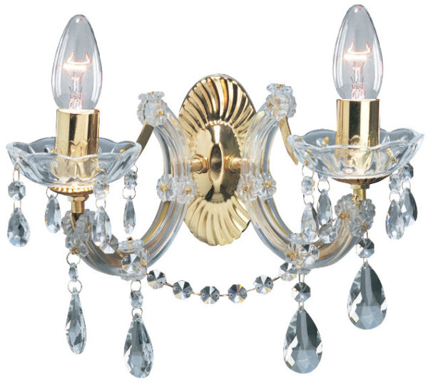 Marie Therese Brass 2 Lamp Crystal Wall Light