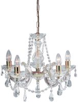 Marie Therese Brass 5 Light Crystal Chandelier