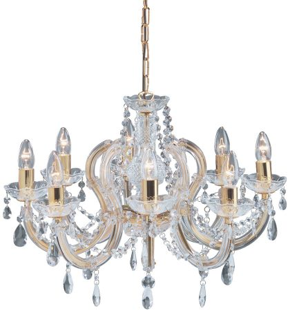 Marie Therese Brass 8 Light Crystal Chandelier