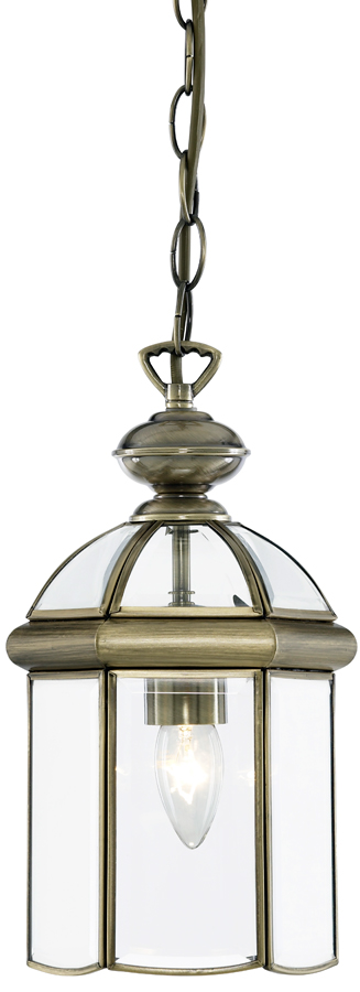 Solid Antique Brass Traditional Hanging Lantern