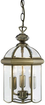Solid Antique Brass 3 Light Hanging Lantern