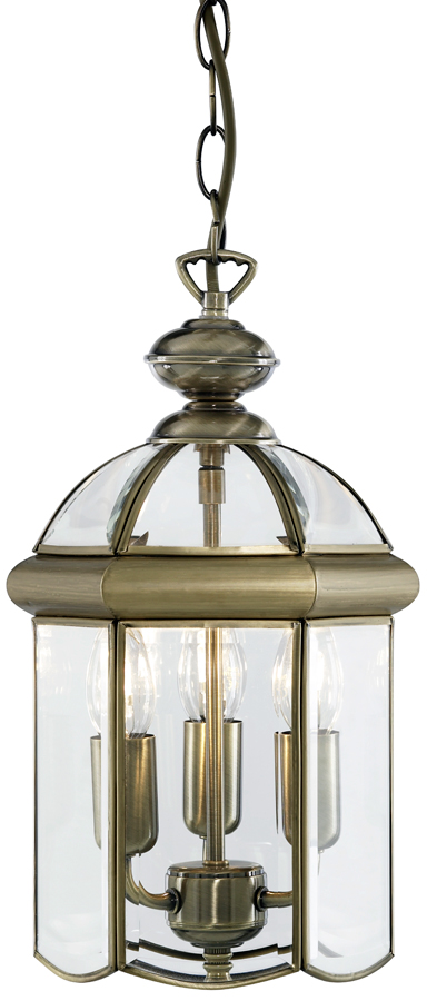 Traditional Solid Antique Brass 3 Light Hanging Chain Lantern
