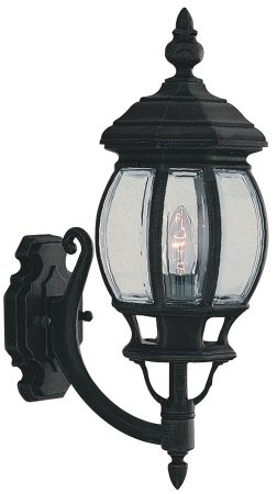 Bel Aire Traditional Matt Black Upward Wall Lantern