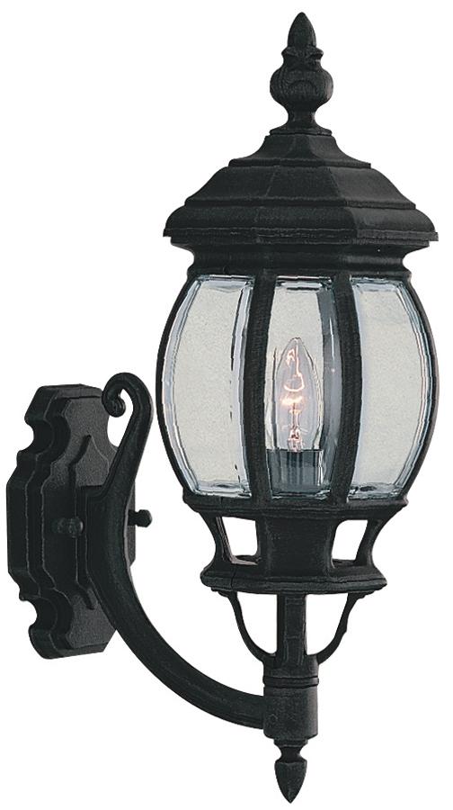 Bel Aire Traditional Matt Black Upward Wall Lantern
