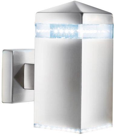 Modern Matt Silver LED Pyramid Outdoor Wall Light