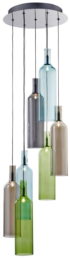 Multi Colured 7 Light Wine Bottle Cluster Ceiling Pendant Chrome