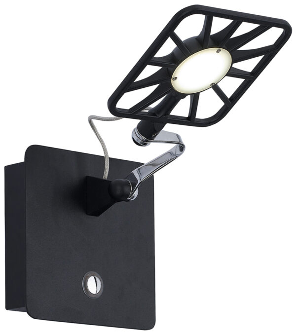 Switched Black Square Dimmable LED Wall Light