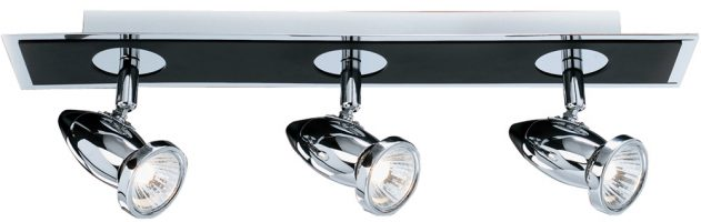 Comet Black And Chrome 3 Spot Light Ceiling Fitting