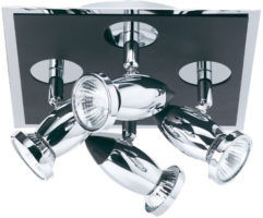 Comet Black And Chrome 4 Spot Light Ceiling Fitting