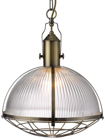Clear Ribbed Glass Antique Brass Industrial Pendant Light