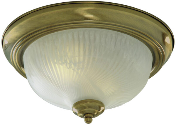 Traditional Antique Brass 2 Lamp Flush Ceiling Light