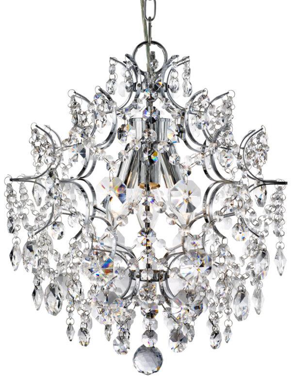 Harrietta Polished Chrome 3 Light Pendant Ceiling Light Crystal