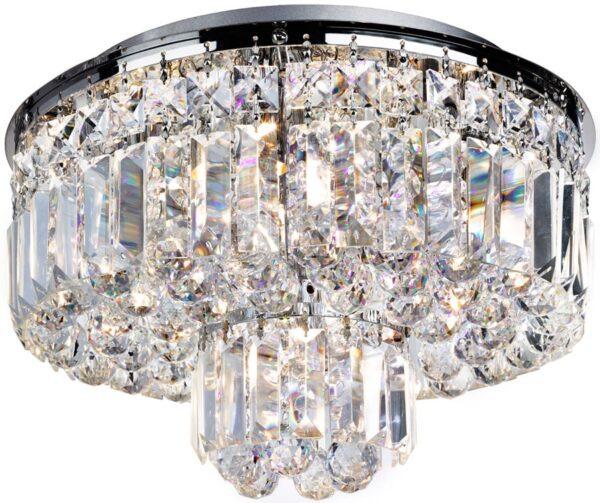 Vesuvius Modern Crystal 5 Lamp Flush Ceiling Light