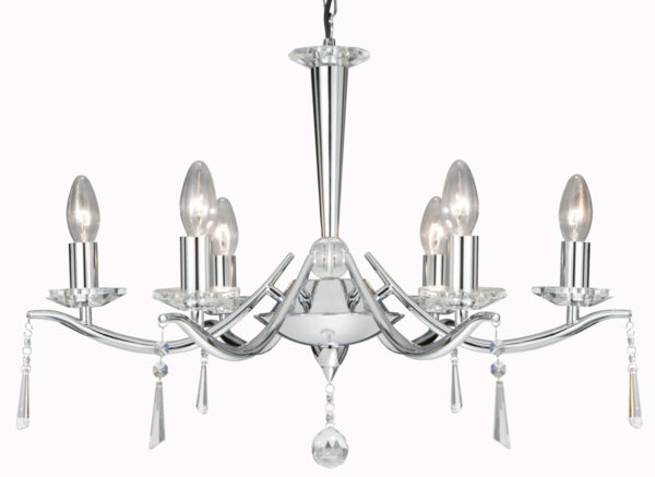 Arabella Modern Chrome 6 Light Glass Drops Chandelier