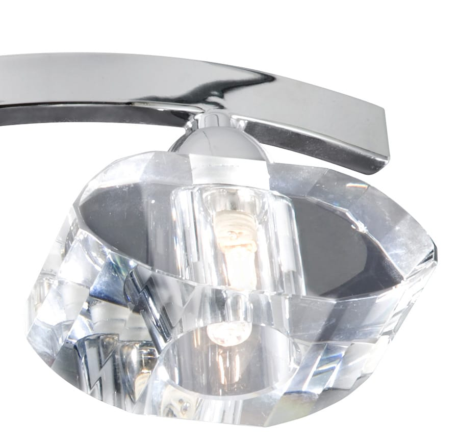 Searchlight Electric Sculptured Ice 8083 3cc Ceiling Light: Sculptured Ice Polished Chrome 3 Light Semi Flush With