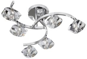 Sculptured Ice Polished Chrome 6 Light Semi Flush With Curved Arms