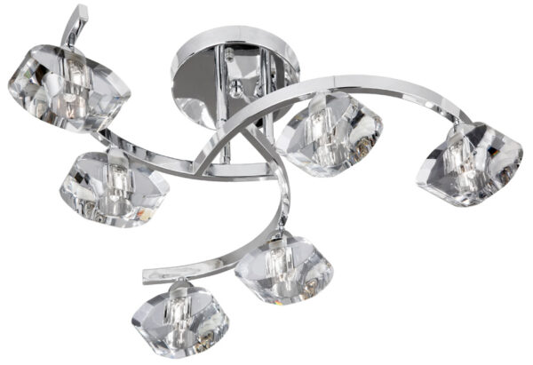 Modern Semi Flush Chrome 6 Light Fitting