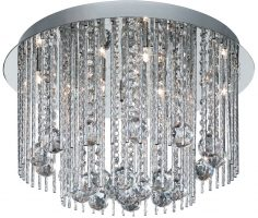 Beatrix Chrome Semi Flush 8 Lamp Crystal Ceiling Light