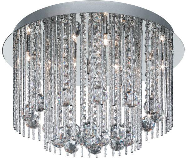 Beatrix 8 Light Flush Mount Ceiling Light Polished Chrome Crystal Drops