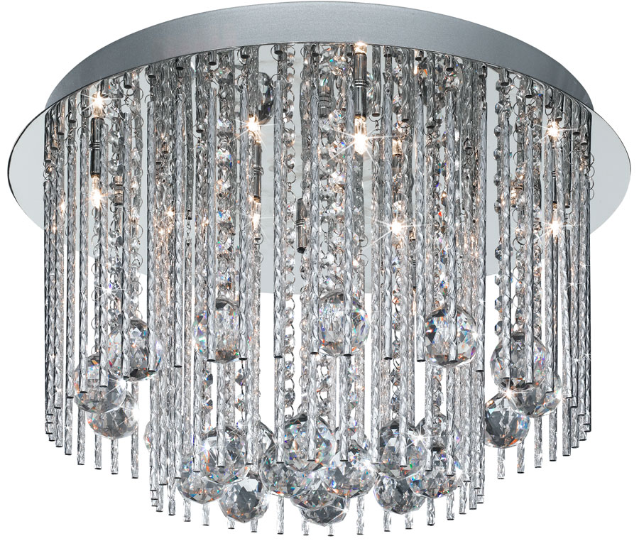 Beatrix 8 light flush mount ceiling light polished chrome crystal drops aloadofball Gallery
