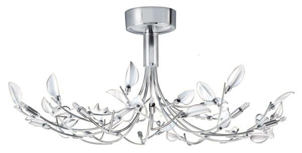 Wisteria Chrome Semi Flush White Glass 10 Light Fitting