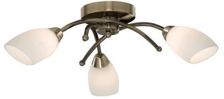 Flush Fitting 3 Lamp Antique Brass Light Fitting