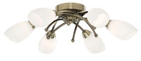 Flush Fitting 6 Lamp Antique Brass Light Fitting
