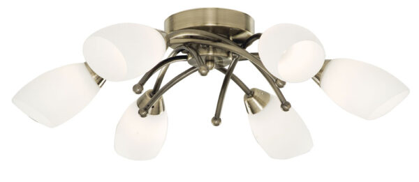 Flush Fitting 6 Lamp Antique Brass Light Fitting