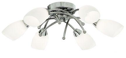 Flush Fitting 6 Lamp Chrome Light Fitting