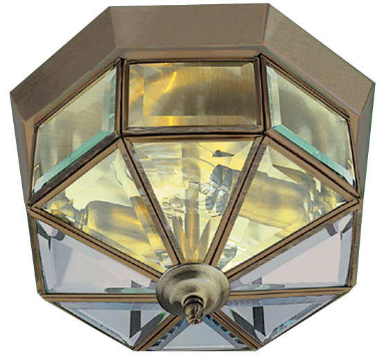Hexagonal Antique Brass 2 Lamp Flush Ceiling Light